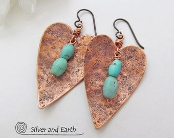 Heart Earrings, Copper & Turquoise Earrings, 7th Copper Anniversary Gift, Handmade Romantic Heart Jewelry, Gift for Wife, Valentine Jewelry