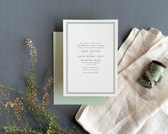 Beach Wedding Invitation, Simple Wedding Invitation, Letterpress Wedding Invitation, Wedding Invitation Suite, Winter Wedding Invitaiton