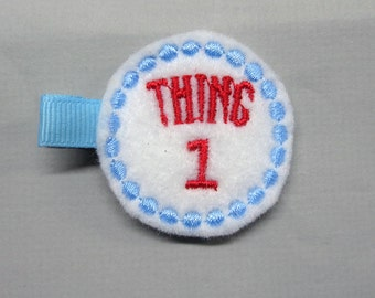 Felt Thing 1 One Alligator Single Prong Hair Clip