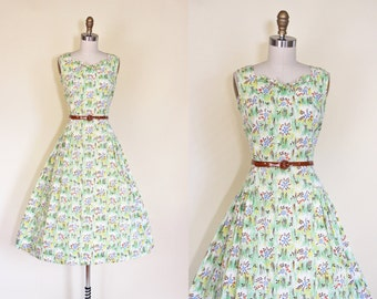 40s Dress - Vintage 1940s Dress - Lime Chocolate Floral Full Skirt Feedsack Cotton Sundress L - Tangled Up in You