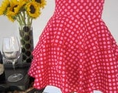 Diva Apron with Ruffles -  Sweet N Sexy -  Super cute in hot pink polka-dots.