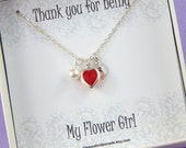 Flower Girl Necklace - Gift Boxed Jewelry Flower Girl Necklace Personalized Flower Girl Gift