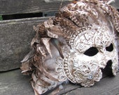 Venetian masquerade mask in ornate silver with brown feathers, Marquesa