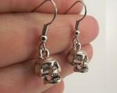 Funky Antiqued Silver Skull Earrings, Pewter Skull Earrings