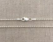 "24"" Sterling Silver 1.5mm Ball Chain - 24"" Silver Chain - 24 Inch - 24"" Ball Chain - Long Silver Necklace - Long Silver Chain - SB2"