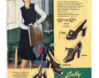 1946 Selby Shoes Vintage Ad, 1940's Fashion, Retro Shoes, Vintage Shoe Ad, Advertising Art, Vintage Fashion, 1940's Shoes, Great to Frame.