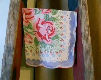 """Vintage Hankie/Hanky """"Lavender Blue Dilly Dilly"""" Printed Hankie, Scalloped Edges"""