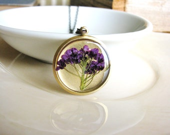 Pressed Flowers Necklace, Purple Alyssum Flowers, Botanical Jewelry, Real Flowers in Resin, Bridal Jewelry, Naturalist Garden Gift