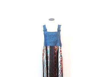 BTS SALE Vintage 90s Southwestern Tribal Print Chambray Denim Overall Jumper Maxi Dress s-l hipster indie country western retro grunge boho