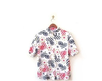 BTS SALE Vintage 80s Red White and Blue Hearts Stars and Stripes Abstract Button Up Blouse s m l
