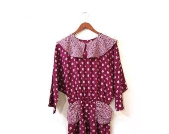 BTS SALE Vintage 80s CRANBERRY Red Floral Batwing Wiggle Dress xs s