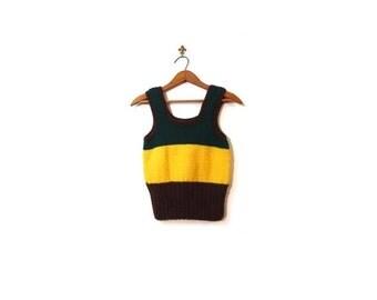 BTS SALE Vintage 70s Handmade Pine Green Yellow & Brown Striped Knit Tank Top women xs s vestiesteam boho autumnal indie hipster hippie prep