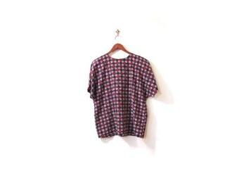 BTS SALE Vintage 90s Colorful SWIRLS Short Sleeved Boxy Blouse m l