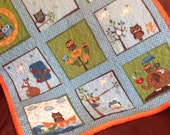 READY TO SHIP!!! Handmade Owl Baby Quilt Blue Green Brown Cream Orange  - Hooty Hoot Baby Quilt