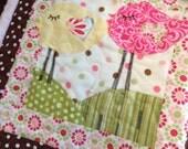 Handmade Personalized Baby Girl Quilt - Turtle - Caterpillar - Birds - Sunrise - Pink Green Yellow Baby Girl Quilt