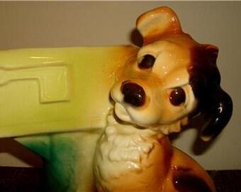 Royal Copley Dog Mail box Spaniel terrier planter vase best friend jardiniere