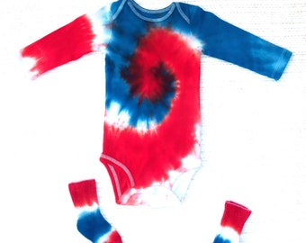 Long-sleeve Baby Tie-dye Onesie, 12 Months, & Matching Socks (red white blue)