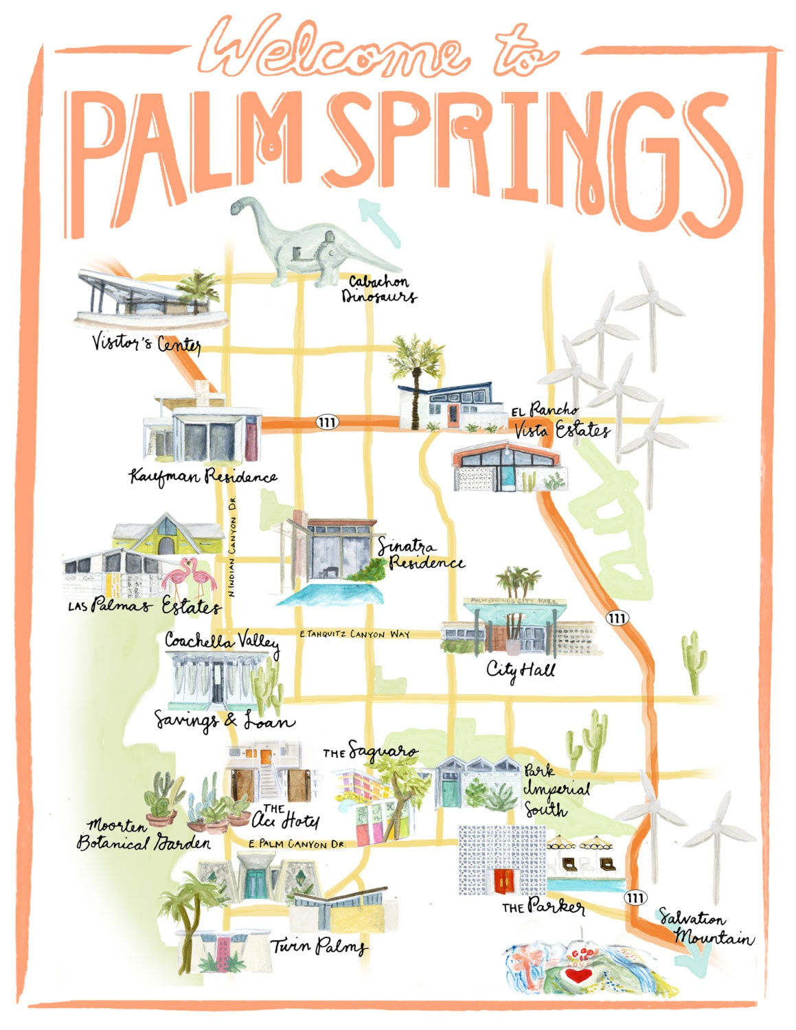 palm springs california illustrated travel map  print of an  - palm springs california illustrated travel map  print of an originalwatercolor