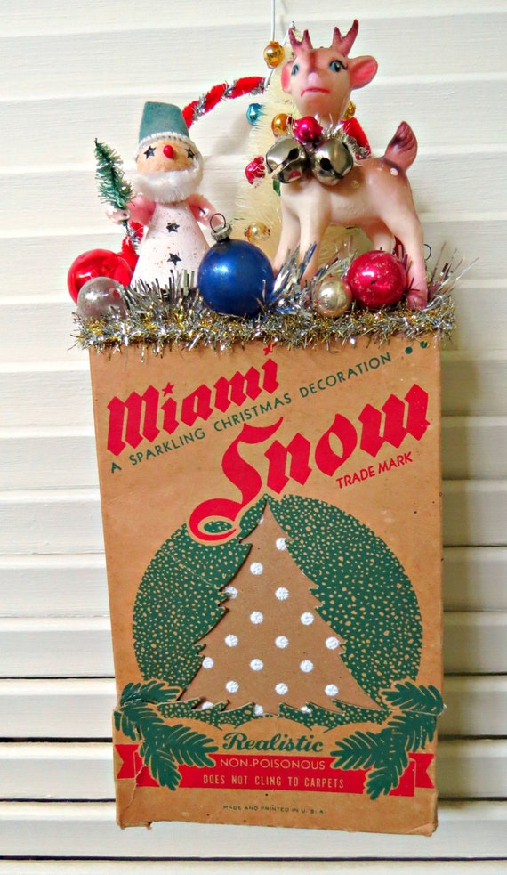 Vintage mica snow box christmas wall decoration by