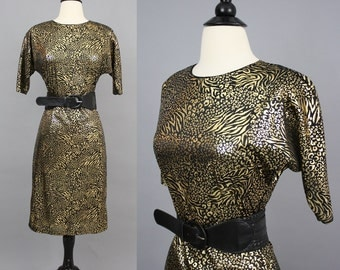 vintage 80s Black and Metallic Gold Animal Print Dress / 1980s Tiger Leopard Print Evening Party Dress / Small