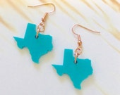 State Jewelry, Texas Earrings in Turquoise Blue Acrylic Plastic on Copper Earring Hooks