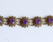 1950s brass filigree purple stone floral links / 50s vintage purple flower link bracelet