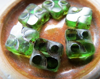 NEW EMERALD Squares . Picasso Czech Glass Beads (8 beads) 10 mm
