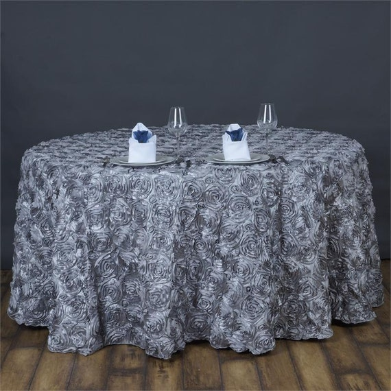 Items Similar To Silver Gray Rosette Round Tablecloth