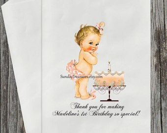 Vintage Baby Girl pink Ballerina TUTU / I Am One First Birthday With Cake / Candy Buffet Party Favor Bags / PERSONALIZED 3 DayShip (refvntg)