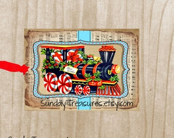 Sets of 6 / Retro Vintage Christmas Train Peppermint Candy Tags / / Favor Bag Gift Tags Label / Ornament / 3 DayShip (ref-ts)
