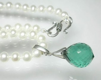 Genuine Pearl Necklace, Green Amethyst Pearl Enhancer Necklace, White Pearl Necklace