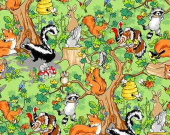 Krazy Kritters   Cotton Fabric  Green Forest Animals Scenic 112-29721 Fabriquilt