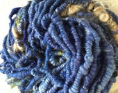 Blue handspun stacked coil art yarn with mohair