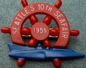 1959 Seafair Hydroplane Races Pin Ships Wheel