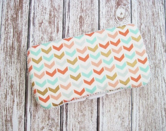 Arrow Baby Wipes Case, Coral, Mint, and Gold Wipes Case, Chevron Travel Wipes Case