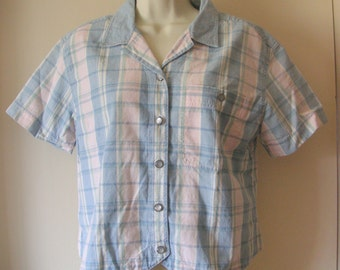 LIZWEAR  ladies 100 percent cotton shirt blue white pink yellow  and green vtg size M  blouse excellent condition