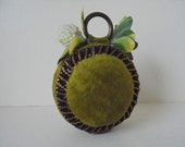 Vintage Green Velvet Pincushion
