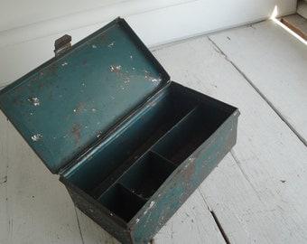 Vintage Metal Cash Box Green Industrial Rusty