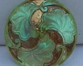 Ginkgo Leaf Czech Glass Button