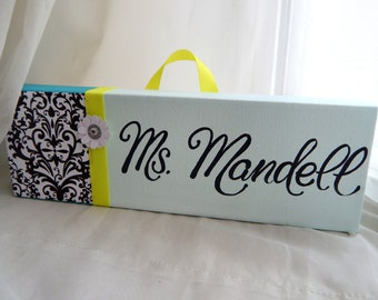 SALE, NEW Teacher, black and white damask with lemon lime ribbon 4x12 stretched canvas