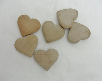6 Wooden puffy hearts 2""