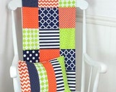 Bunting Banner, Photography Prop, Fabric Flags, Nursery Decor, Birthday Decoration, Garland - Lime Green, Navy Blue, Orange, Chevron, Dots
