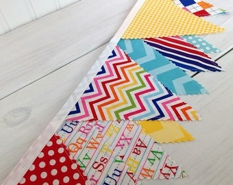Birthday Party Decoration, Flags, Colorful, Bunting Banner, Photography Prop, Garland, Pennant - Rainbow Alphabet, Letters, ABC, Chevron