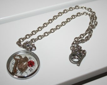 Silvertone Pocket Watch Steampunk Necklace
