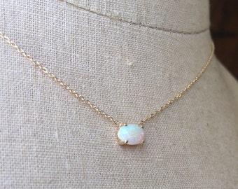 Australian Opal Necklace, Gold Opal Necklace, Opal Solitare, Birthstone Necklace, Opal Necklace, Bridal Necklace, Wedding Jewelry, Opal