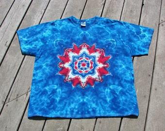 Tye Dye Mandala Tee - Adult (2XL) Red, White & Blue