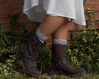 Oatmeal Color Crocheted open work lacy leg warmers spats boot cuffs fall winter fashion