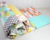 Baby Blanket, Unisex Baby Blanket, Gender Neutral Crib Blanket, Boy Nursery Decor, Girl Blanket, Mint Green, Yellow, Pink, Peach, Gray, Grey