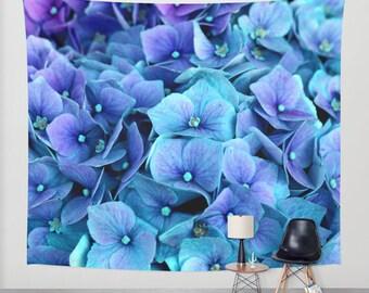 hydrangea wall tapestry/blue hydrangea tapestry/hydrangea wall decor/hydrangea flower tapestry/hydrangea wall decoration/floral tapestry