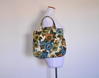 vintage 1970s floral knitting bag / canvas floral tote bag